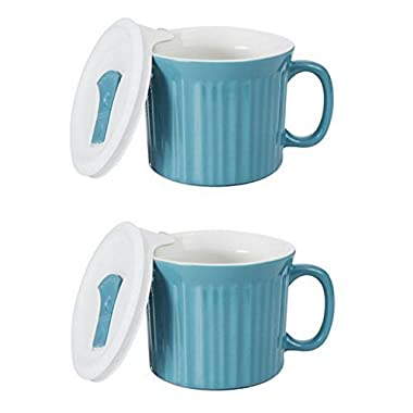 Corningware 20-Ounce Oven Safe Meal Mug with Vented Lid, Pool Blue, Pack of 2