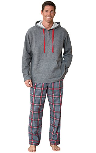 PajamaGram Mens Flannel Pajamas Sets - Warm Hooded Pajamas for Men, Gray, XL