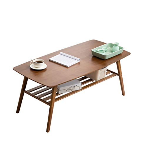 Yo-Yo2015 End Table Modern Simple Bamboo Tea Table Side Table Multifunction with Double Storage Coffee Table for Living Room Sofa End Table Coffee Tables (Color : Tea Color, Size : 1005050cm)