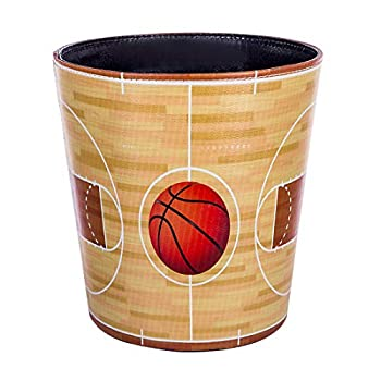Haoun Wastebasket Sport Theme Decorative Trash Can PU Leather Waste Paper Basket Kitchen Garbage Can Office Waste Bin Living Room Recycle Bin Bedroom Dustbin Waste Container - Basketball Court