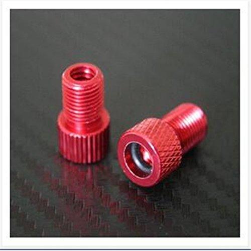 Adattatore rosso da valvola Presta a Schrader, accessorio convertitore per bicicletta,confezione da 2