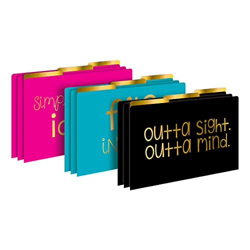 Barker Creek Legal-Size Designer File Folders, File in Style, Replace Bland and Boring with Bright and Beautiful Legal File Folders, 1/3 Cut Tabs, 9 Folders in Pkg, 3 Each of 3 Designs (2513)