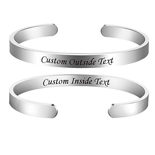 Personalized Inspirational Bracelets Custom Engraved Name Mantra Quote...