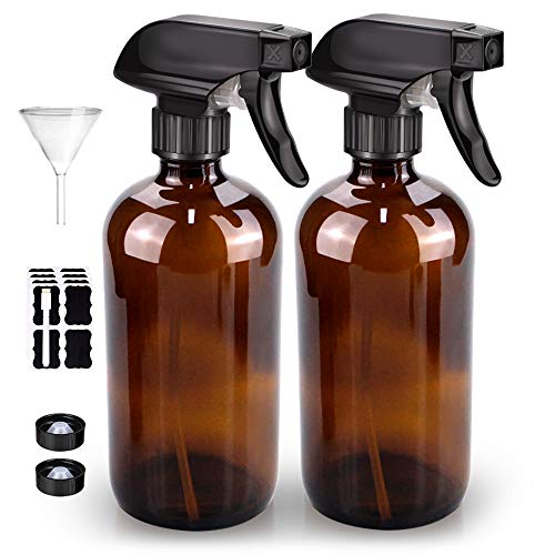 Glass Spray Bottle, Bontip Amber Glass Spray Bottle Set & Accessories for Non-toxic Window Cleaners Aromatherapy Facial hydration Watering Flowers Hair Care (2 Pack/16oz) (Amber) (Amber)