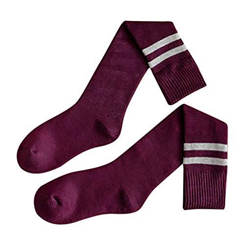 Huacat Damen College-Stil Trend Frau Kniestrümpfe Streifen Hit Farbe Haufen Socken Baumwolle Wadensocken