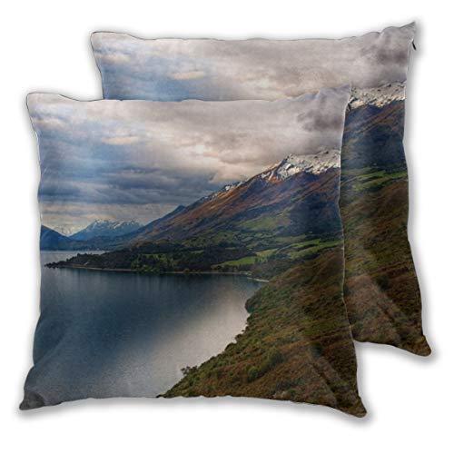 Lot de 2 housses de coussin en velours massif pour canapé, banc, 45 cm - Mount Creighton Alpes du Sud Otago Zealand, Velours., 1 couleur, 18\
