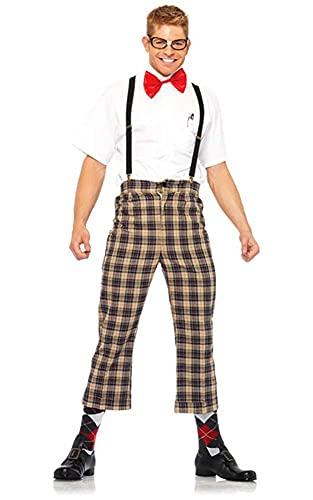 Leg Avenue 4 Piece Nerdy Ned Plaid Suspender Pant Set
