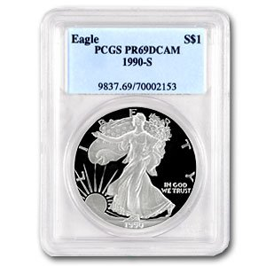 1990-S (PROOF) Silver American Eagle – PR-69 DCAM PCGS