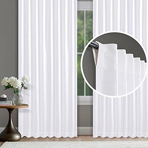 White Cotton Curtains Set of 2, Textured Slub Curtain 50x96 inch,Cotton Curtains,tab top Curtains,White Cotton Curtains,White Panel Curtains,Cotton Duck Curtains,tab top Curtains
