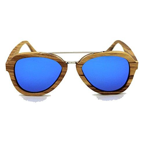 AHY Vidrios De Bambú De La Moda, Gafas De Sol del Aviador De La Nariz del Metal/Polarizer