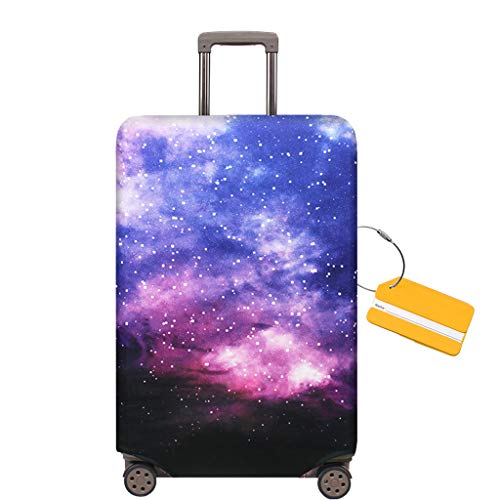 OrgaWise Luggage Cover con Cremallera, Suave de Anti-Polvo, Elástico Cabe 22-28 Pulgadas Funda Maleta (M, L) (Galaxia, XL (29