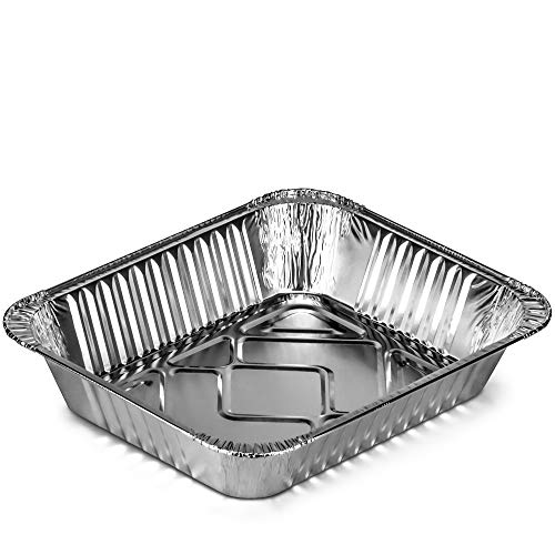 DecorRack 10 Aluminum Pans 9 x 13 Half-Size Steam Table Deep Heavy Duty Aluminum Pans Disposable Food Storage Foil Baking Pan for Cooking, Heating, Storing, Meal Prep (10 Pack) Maine