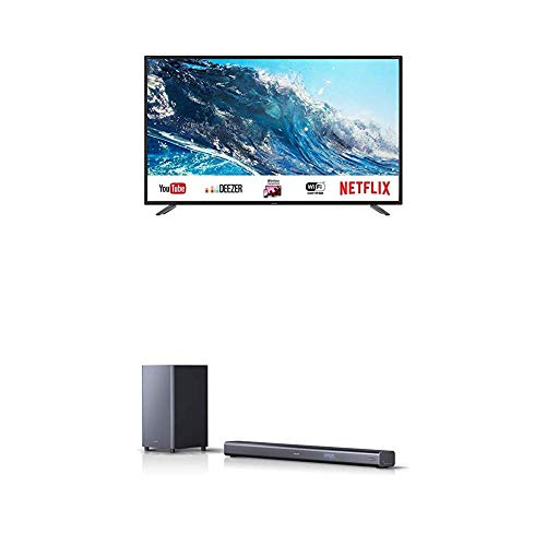 Sharp 55BJ2E - TV 55' 4K Ultra HD + Barra de Sonido con Sonido Envolvente Virtual 3D y subwoofer inalámbrico, Bluetooth, Experiencia 4K, HDMI ARC/CEC, y Potencia Total de 440 W Color Negro