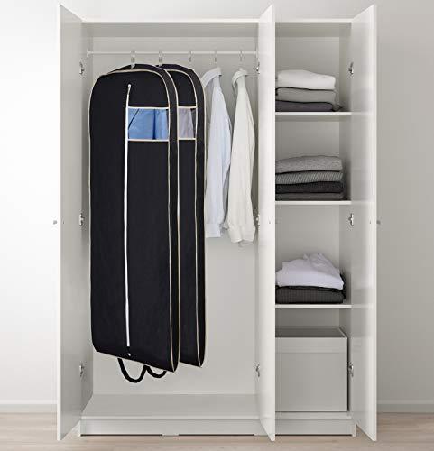 "MISSLO Breathable 54"" Long Suit Dress Black Garment Bag Gusseted, 2 Pack"
