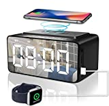 Alarm Clock Radio with Bluetooth Speaker, Alarm Clocks Bedside, Battery backup and USB port Powered Used as Wireless Charger and USB Charger, Large HD LED Display