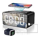 Alarm Clock Radio with Bluetooth Speaker, Alarm Clocks Bedside, Battery backup and Mains
