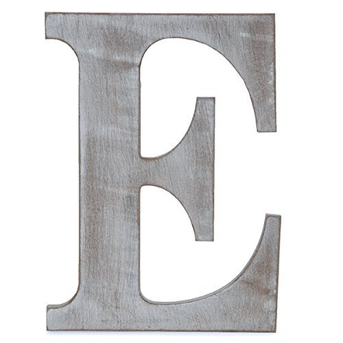 The Lucky Clover Trading E Wood Block, 14' L, Charcoal Grey Wall Letter, Gray