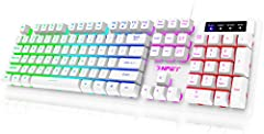 Professional Gaming Keyboard. UV coated keycaps and injection laser carving ABS keycaps design, the letter of characters never fade. Anti-sweat, prevents keycap damage, enhanced durability, and tactile feedback. Thick and firm stainless steel base pl...