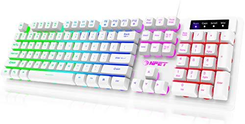 NPET K10 Gaming Keyboard USB Wired Floating Keyboard, Quiet Ergonomic Water-Resistant Mechanical Feeling Keyboard, Ultra-Slim Rainbow LED Backlit Keyboard for Desktop, Computer, PC, White