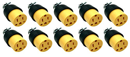 BRUFER 320203 Heavy Duty Female Electrical Plug 3-Prong 125V 15A - 3 Wire Replacement Female Electrical Plug - Bulk Pack of 10 pieces