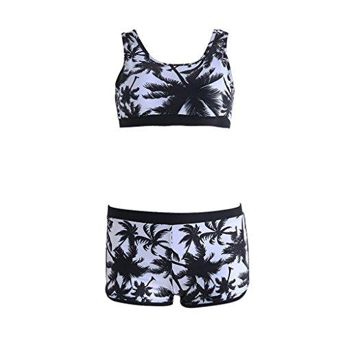 MEIYIN Top curto feminino sexy cintura alta, conjunto de biquíni floral preto para praia, traje de banho vintage, Preto, G