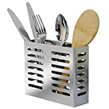 Wall Mount Utensil Drying Racks,Cooking Utensil Holder Flatware Hanging Organizer for Spoons, Knives, Forks, Chopsticks, Cookware Cutlery Holder with 2 Slots Drain Holes-Stainless Steel Rust Proof