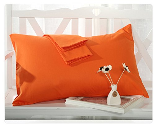 BLERA Juego de funda de almohada de 300 hilos, algodón egipcio auténtico, estándar de 2 piezas, sólido, naranja