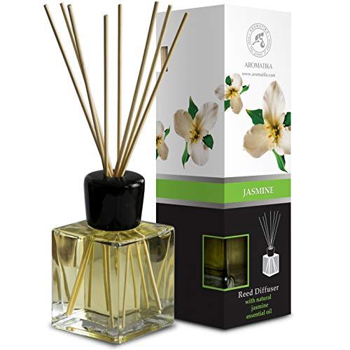 Difusor Aromas de Jazmíne 200ml - Aroma Fresco y Largo - con 8 palitos de bambú - 0% Alcohol - Puro Aceite Jasmine para Cuartos - Hogares - Oficinas - Restaurantes - Aromaterapia