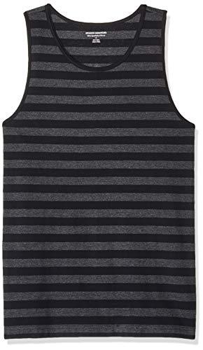Amazon Essentials Slim-Fit Stripe Tank Top Novelty Tops, Black/Charcoal Heather, US L (EU L)