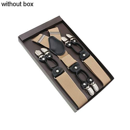 DYDONGWL Suspenders/Zwart 6 Clips Suspenders Braces Vintage Casual Suspension Stretch Broek Band Brace Dad/Man Gift