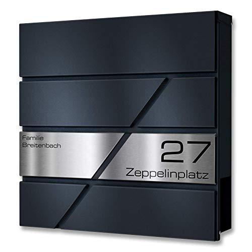 Metzler Briefkasten in Anthrazit Zeppelin - V2A Edelstahl Namensschild - Pulverbeschichtung in RAL 7016 Feinstruktur Matt - Postkasten mit Gravur - Zur Wand-Montage - Größe: 37 x 37 x 10,5 cm