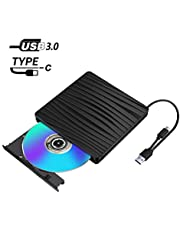 DVDドライブ 外付け USB 3.0 Type-c 外付けDVDドライブ CDドライブ DVD プレイヤー ポータブルドライブ CD/DVD読取・書込 DVD±RW CD-RW Type-C/USB3.0/2.0 Window/Mac/Vista/Linux OS対応 高速 静音 ブラック 2019最新版