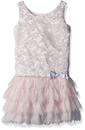 Biscotti Big Girls Royal Treatment Drop Waist Dress with Petal Skirt, Silver, 16