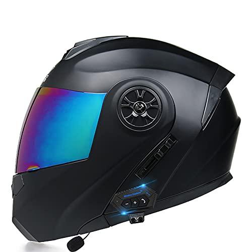 Casco de Motocicleta Integrado Bluetooth,Cascos modulares de Moto de Visera Doble con Visera Completa para Hombres y Mujeres Adultos Certificación ECE C,XL