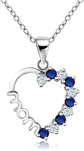 Gem Stone King 925 Sterling Silver Heart MOM Pendant Necklace Set with Created White and Blue product image