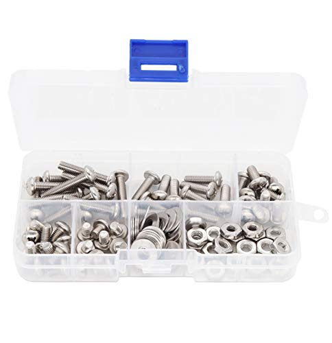 "binifiMux 110pcs 10-32 Pan Phillips Screws Hex Nuts Flat Washers Assortment Kit, 1/4"" 5/16""""3/8""""5/8"" 1"", 304 Stainless Steel"