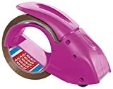 tesapack Abroller Pack' n' Go - Ergonomischer, pinker Handabroller für Paketbänder - Inklusive 50 m x 48 mm Klebeband