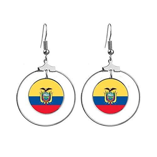 Ecuador Nationale Vlag Zuid-Amerika Land Oorbellen Dangle Hoop Sieraden Drop Cirkel