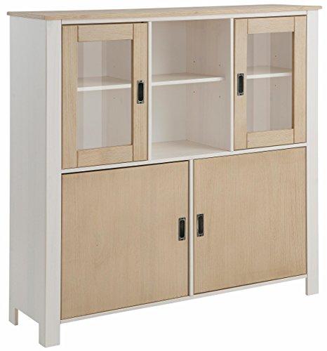 Loft24 Insel Vitrine Vitrinenschrank Highboard Schrank Esszimmer Küche Glastür Kiefer massiv weiß Hellbraun