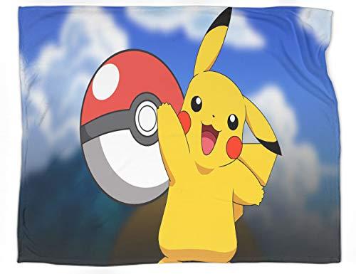Manta decorativa extra suave con diseño de Pokémon, súper suave, acogedora, cálida, ligera, de forro polar para cama, tamaño completo de 90 x 70 pulgadas