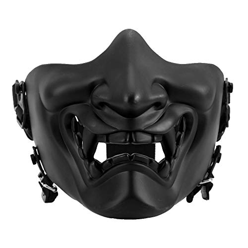 Airsoft Half Face Mask, Tactics Camouflage Impact Resistant Guard Half Face Mask para Survival Game Cosplay(Negro)