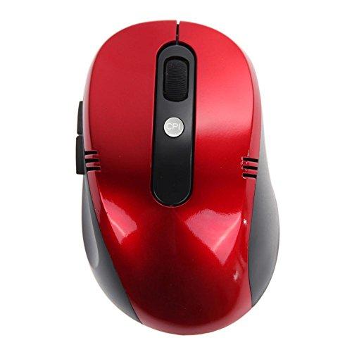 prettygood7 Muis Muizen optische draadloze muis USB-ontvanger RF 2.4G voor Desktop & Laptop PC rood