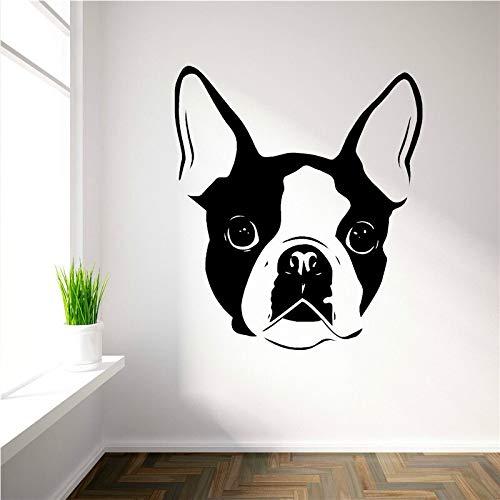 Aufkleber Boston Terrier Hundegesicht niedlichen Tier Vinyl Wandtattoo Dekoration abnehmbar 42X50cm