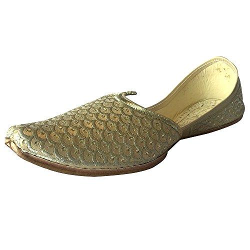 Step n Style Mens Punjabi Jutti Sherwani Scarpe Crema Oro Zari Designer Mocassini Etnico Calzature, (Oro panna.), 42.5 EU