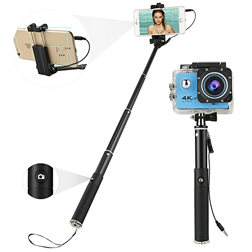 Bastone Selfie, AI-Orange cavo di controllo con mini pieghevole in lega di alluminio per iPhone, Samsung e altri smartphone Android