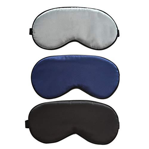 Augenmaske Schlafmaske, DNSAHOI 3 Stück Nachahmung Seide Schlafmaske Einstellbar Augenmaske Travel Nachtmaske für Damen Herren (Navyblau,Schwarz,Silber)