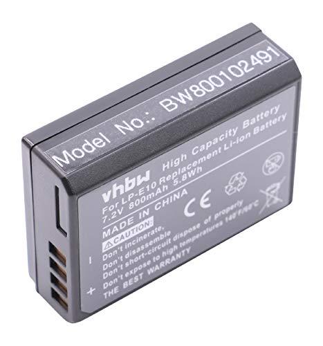 vhbw Batería 800mAh para Canon EOS 2000D, Canon EOS 4000D reemplaza LP-E10, LP-E 10.