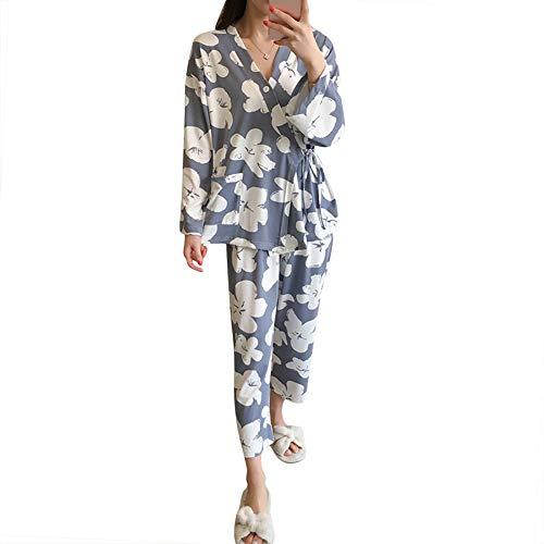 ASHERANGEL レディースパジャマ 花柄ルームウェア 甚平 長袖? 上下セット 寝巻き 和風 部屋着 セットアップ パンツ ナイトガウン 春夏秋冬 抜け感 可愛い 花-ブルー XL