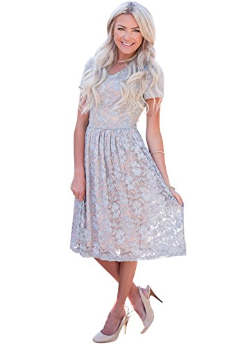 Annabelle Modest Dress In Gray Lace w/Taupe Lining