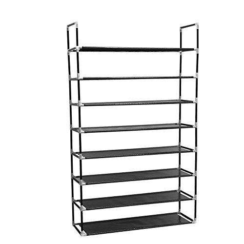 HJZ 8 nivåer för 40 par skohylla stående förvaring organisatör svart 88 x 28 x 145 cm